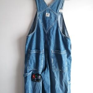 Blue Denim AE Supply Co Worker Patched Overalls L